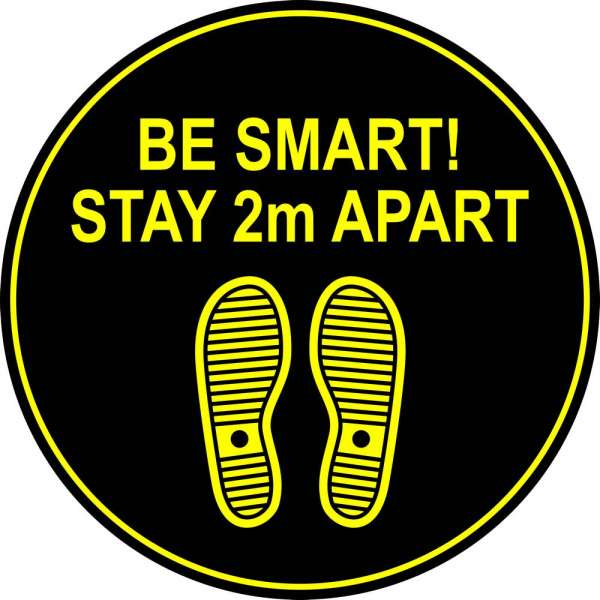 Be Smart Stay 2m Apart - Circle Floor Graphic